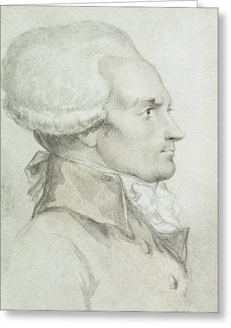 Collar Greeting Cards - Portrait of Maximilien de Robespierre Greeting Card by Jean Michel the Younger Moreau