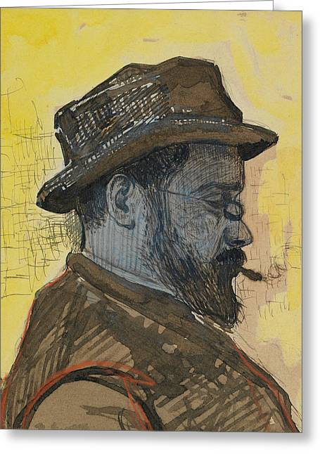 Middle Ground Greeting Cards - Portrait of Maximilien Luce Greeting Card by Paul Signac