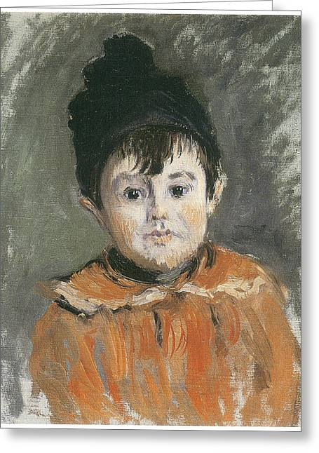 Portrait Of A Young Boy Greeting Cards - Portrait of Michel in a Pompon Hat Greeting Card by Claude Monet