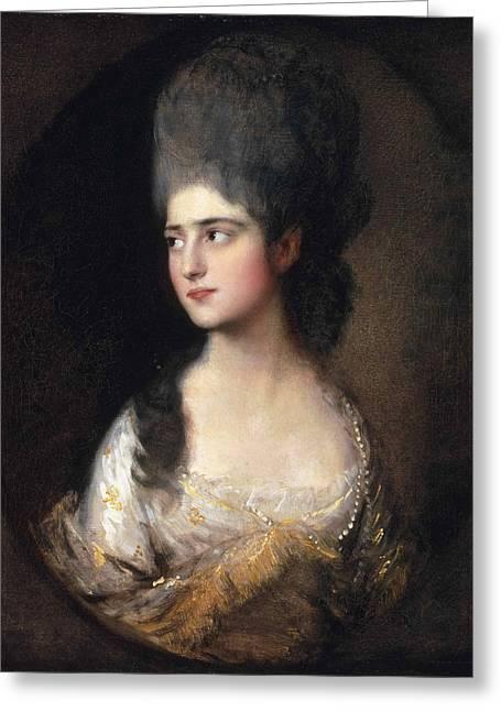 Portrait Of Miss Elizabeth Linley  Later Mrs Richard Brinsley Sheridan Greeting Card by Thomas Gainsborough