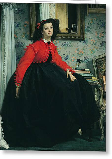 Victorian Photographs Greeting Cards - Portrait Of Mlle. L.l. Young Lady In A Red Jacket 1864 Oil On Canvas Greeting Card by James Jacques Joseph Tissot