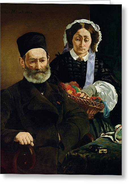 The Artists Greeting Cards - Portrait Of Monsieur And Madame Auguste Manet, 1860 Oil On Canvas Greeting Card by Edouard Manet