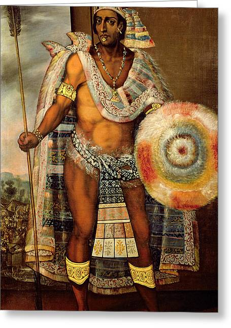 Mesoamerica Greeting Cards - Portrait of Montezuma II Greeting Card by European School