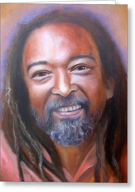 Self-knowledge Greeting Cards - Portrait of Mooji Greeting Card by Vera Atlantia