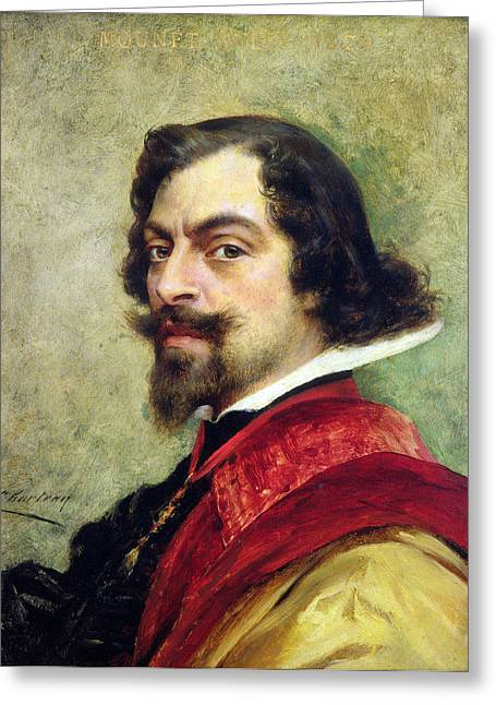 Collar Greeting Cards - Portrait Of Mounet-sully 1841-1916 Oil On Canvas Greeting Card by Theobald Chartran