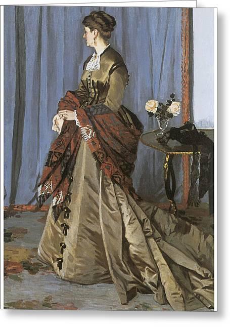 Victorian Era Woman Greeting Cards - Portrait of Mrs. Gaudibert Greeting Card by Claude Monet