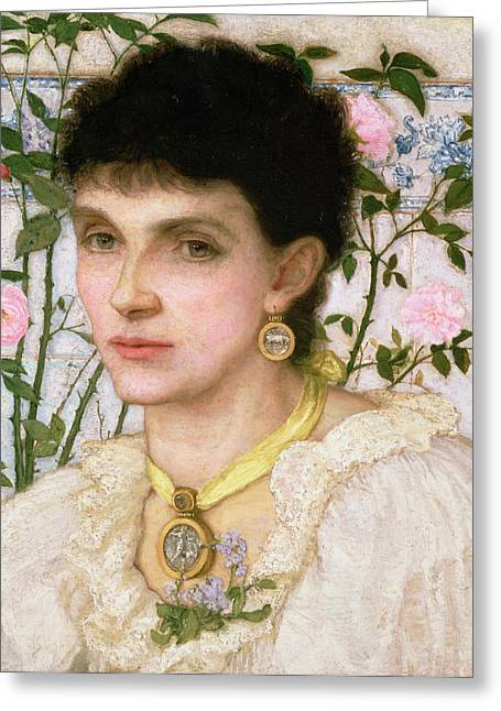Jewellery Greeting Cards - Portrait Of Mrs. George Henry Boughton Greeting Card by English School