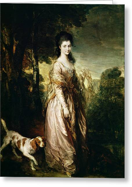 Spaniel Greeting Cards - Portrait Of Mrs. Lowndes-stone 1758-1837 C.1775 Oil On Canvas Greeting Card by Thomas Gainsborough