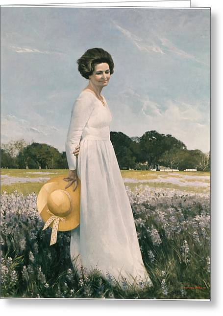 First Lady Paintings Greeting Cards - Portrait of Mrs Lyndon B Johnson Greeting Card by Mountain Dreams