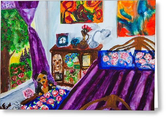 Subconscious Greeting Cards - Portrait of my room at the Rivoli Greeting Card by Natasha R Three