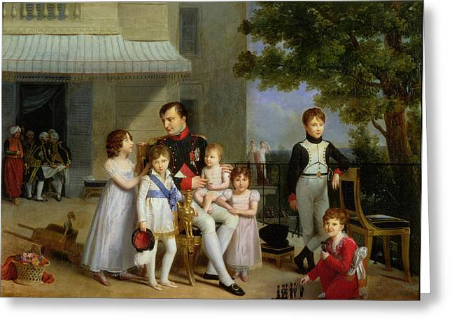 Portrait Of Napoleon Bonaparte 1769-1821 With His Nephews And Nieces On The Terrace At Saint-cloud Greeting Card by Louis Ducis