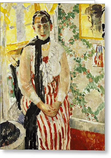 Clasped Greeting Cards - Portrait of Nel Wouters Greeting Card by Rik Wouters