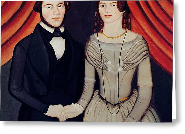 Man And Woman Greeting Cards - Portrait of Newlyweds Greeting Card by American School