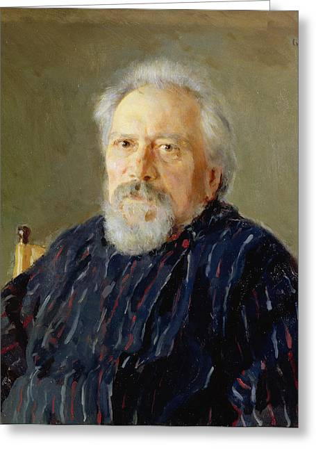 Journalist Greeting Cards - Portrait Of Nikolay Leskov Oil On Canvas Greeting Card by Valentin Aleksandrovich Serov