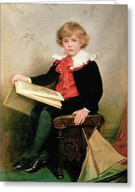 Children Book Greeting Cards - Portrait Of Norman Stewart Davies Greeting Card by George Hillyard Swinstead
