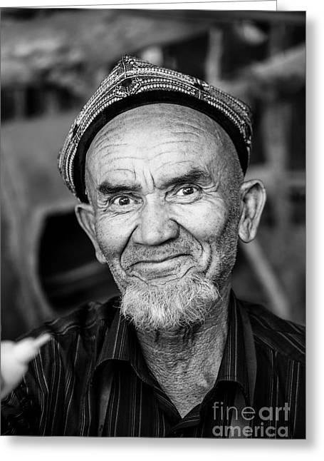 Ethnical Greeting Cards - Portrait of old uighur man in Kashgar China Greeting Card by Matteo Colombo