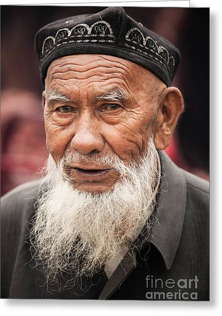 Ethnical Greeting Cards - Portrait of old uighur man in Kashgar Xinjiang China Greeting Card by Matteo Colombo