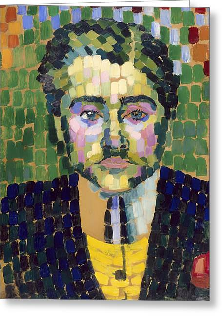 Vintage Painter Greeting Cards - Portrait of Painter Jean Metzinger Greeting Card by Robert Delaunay