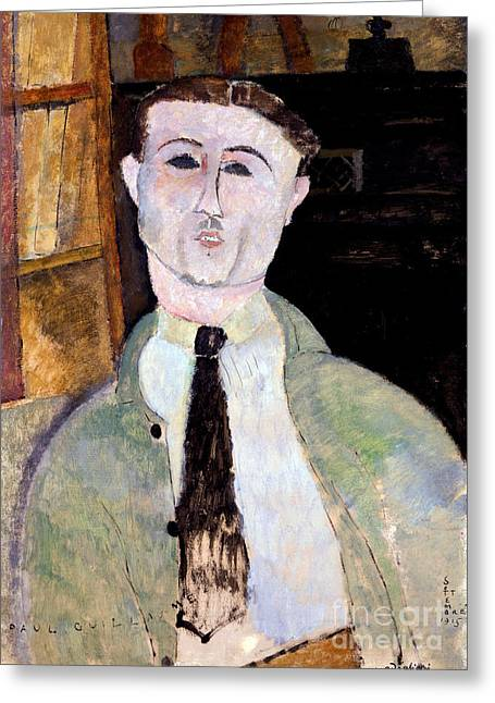 Clemente Paintings Greeting Cards - Portrait of Paul Guillaume Greeting Card by Amedeo Modigliani