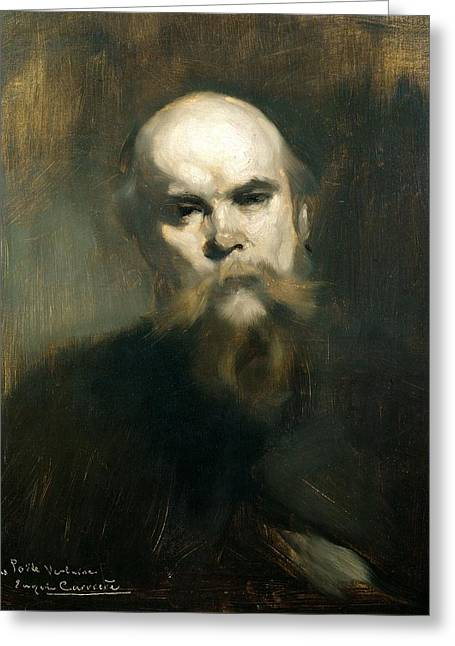 Moustache Greeting Cards - Portrait Of Paul Verlaine 1844-96 1890 Oil On Canvas Greeting Card by Eugene Carriere