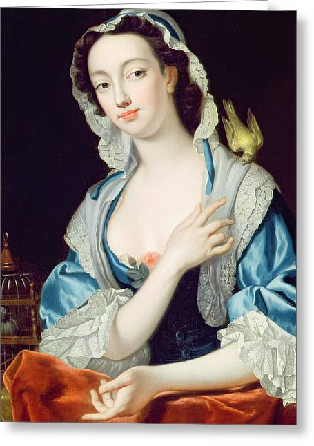 Irish Hat Greeting Cards - Portrait of Peg Woffington Greeting Card by Jean-Baptiste van Loo