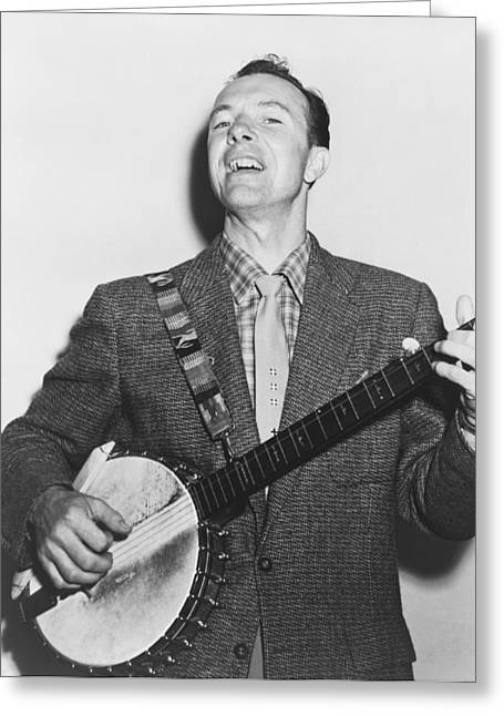 Portrait Of Pete Seeger Greeting Card by Fred Palumbo