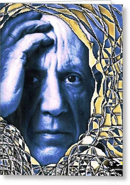 Pablo Mixed Media Greeting Cards - Portrait of Picasso Greeting Card by Dan Twyman