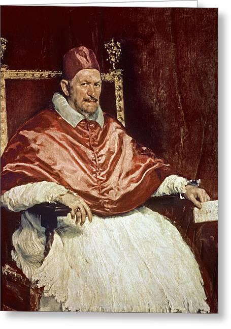 Clergy Greeting Cards - Portrait Of Pope Innocent X 1574-1655, 1650 Oil On Canvas Greeting Card by Diego Rodriguez de Silva y Velazquez