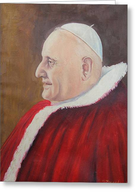 Giovanni Greeting Cards - Portrait of Pope John XXIII - Papa Giovanni XXIII Greeting Card by Mario Zampedroni