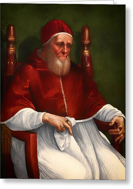 Catholic work Paintings Greeting Cards - Portrait of Pope Julius II Greeting Card by Raphael