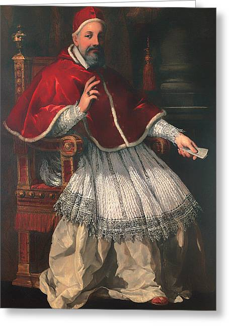 Religious Artwork Paintings Greeting Cards - Portrait of Pope Urban VIII Greeting Card by Pietro da Cortona