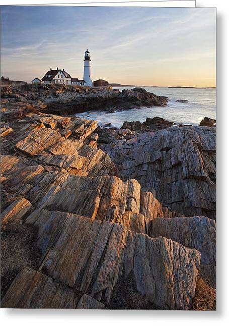 Portland Head Light Greeting Cards - Portrait of Portland Head Greeting Card by Eric Gendron