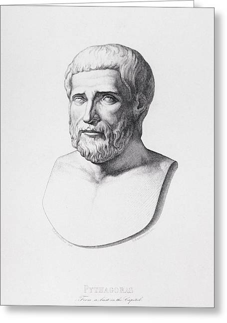 Philosopher Greeting Cards - Portrait of Pythagoras Greeting Card by CC Perkins