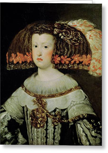 Plaits Greeting Cards - Portrait Of Queen Maria Anna 1635-96 Of Spain Oil On Canvas Greeting Card by Diego Rodriguez de Silva y Velazquez