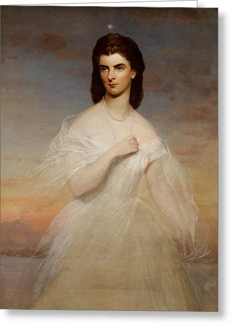 Royalty Greeting Cards - Portrait of Queen Maria Sophia of Naples Greeting Card by Franz Xaver Winterhalter