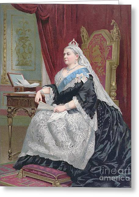 Family Time Drawings Greeting Cards - Portrait of Queen Victoria Greeting Card by English School
