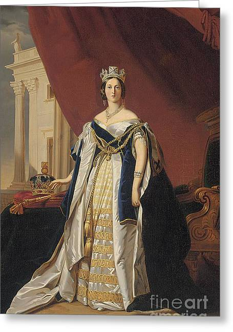 Monarchy Greeting Cards - Portrait of Queen Victoria in coronation robes Greeting Card by Franz Xaver Winterhalter