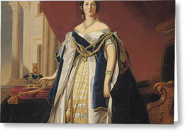 Portrait of Queen Victoria in coronation robes Greeting Card by Franz Xaver Winterhalter