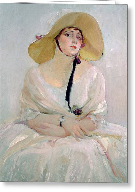 Straw Greeting Cards - Portrait of Raquel Meller Greeting Card by Joaquin Sorolla y Bastida
