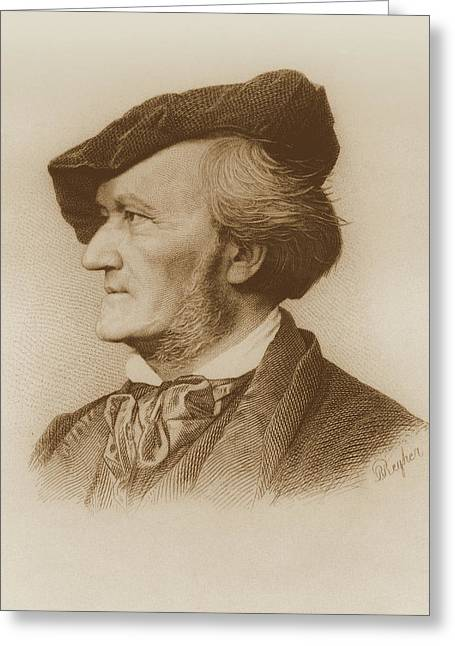 Autographed Greeting Cards - Portrait Of Richard Wagner German Greeting Card by German School