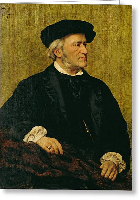 Composing Greeting Cards - Portrait of Richard Wagner Greeting Card by Giuseppe Tivoli