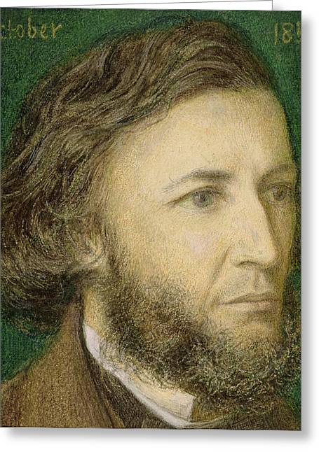 Nose Drawings Greeting Cards - Portrait of Robert Browning Greeting Card by Dante Charles Gabriel Rossetti