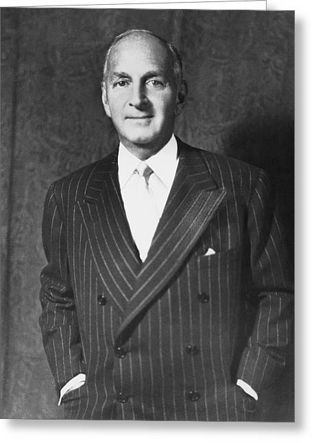 Portrait Of Robert Lehman Greeting Card by Underwood Archives