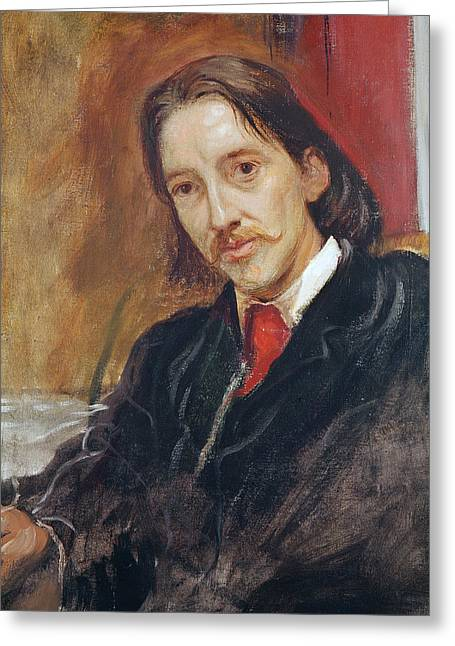 Portrait Of Robert Louis Stevenson Greeting Card by Sir William Blake Richomond
