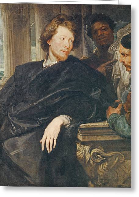 Three-quarter Length Greeting Cards - Portrait Of Rubens Oil On Canvas Greeting Card by Sir Anthony van Dyck
