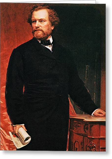 Book Illustrations Greeting Cards - Portrait Of Samuel Colt, Inventor Of The Revolver Greeting Card by American School