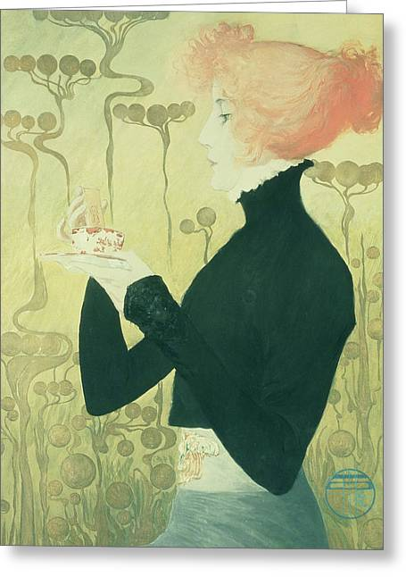 Portrait Of Sarah Bernhardt Greeting Card by Manuel Orazi