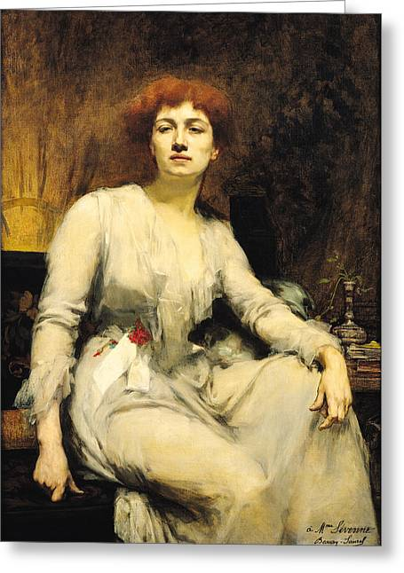 Journalist Greeting Cards - Portrait Of Severine 1855-1929 1893 Oil On Canvas Greeting Card by Amelie Beaury-Saurel