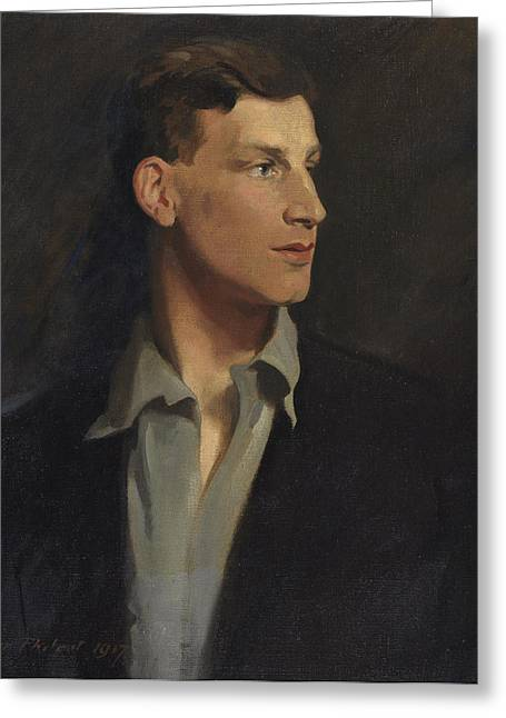 Novelist Greeting Cards - Portrait Of Siegfried Sassoon 1917 Greeting Card by Glyn Warren Philpot
