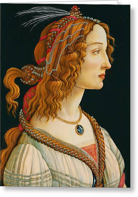 Los Angeles Drawings Greeting Cards - Portrait of Simonetta Vespucci  Greeting Card by Celestial Images